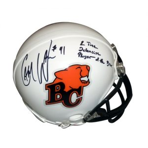 """Cameron Cam Wake Autographed BC Lions (CFL) Mini Helmet w/ """"2 Time Defensive Player of Year"""" - Wake Holo"""