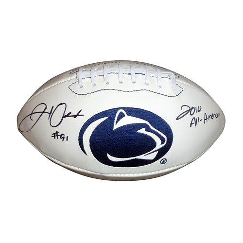 "Jared Odrick Autographed Penn State Nittany Lions Logo Football w/ ""2010 All American"""