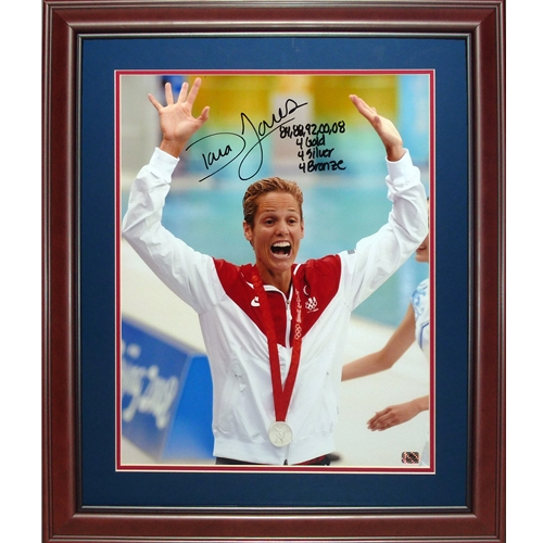 """Dara Torres Autographed Beijing Olympics (Silver Medal) Deluxe Framed 16x20 Photo w/ """"84,88,92,00,08"""""""
