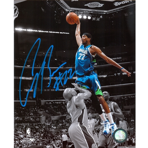 Corey Brewer Autographed Minnesota Timberwolves (Spotlight Dunk vs Fisher) 8x10 Photo