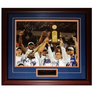 2005-06 Florida Gators Team Autographed (06 Final Four Celebration Donovan Trophy) Deluxe Framed 16x20 Photo