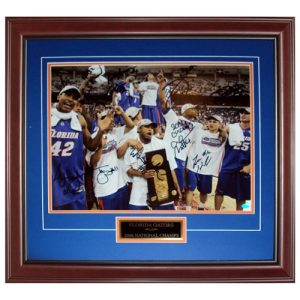 2005-06 Florida Gators Team Autographed (06 Final Four Celebration Hodge Trophy) Deluxe Framed 16x20 Photo