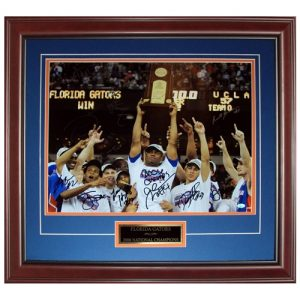 2005-06 Florida Gators Team Autographed (06 Final Four Celebration Moss Trophy) Deluxe Framed 16x20 Photo