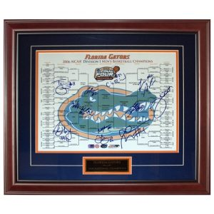 2005-06 Florida Gators Team Autographed (06 Final Four Bracket) Deluxe Framed 16x20 Photo