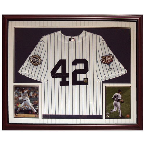 san francisco d6e2f 1e870 Mariano Rivera Autographed New York Yankees (09 WS Pinstripe #42) Deluxe  Framed Jersey - Steiner
