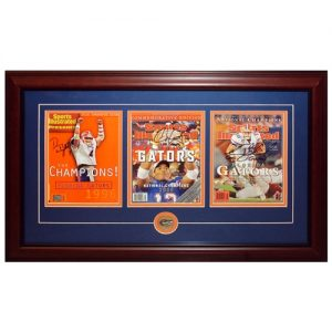 Danny Wuerffel , Chris Leak And Tim Tebow Autographed Florida Gators (National Champs Commemorative) Sports Illustrated Triple Frame