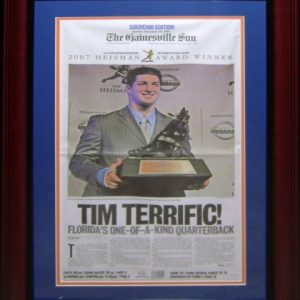 Tim Tebow Florida Gators (Gainesville Sun 2007 Heisman Edition) Deluxe Framed Newspaper