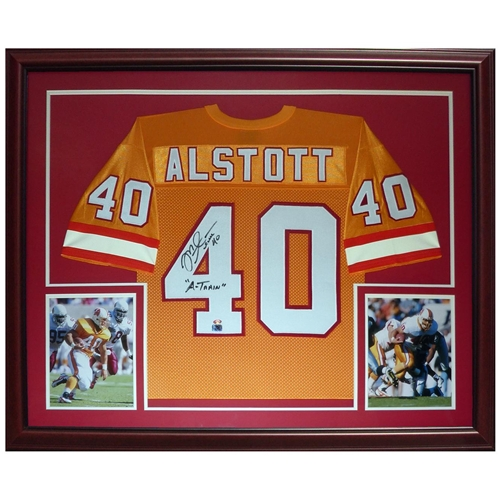 newest collection 1f1a8 e289c Mike Alstott Autographed Tampa Bay Buccaneers (Throwback Orange #40) Deluxe  Framed Jersey