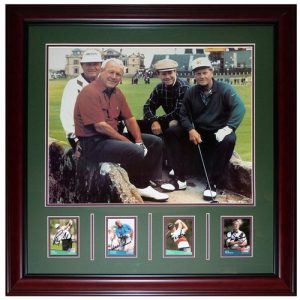 Jack Nicklaus , Ray Floyd , Arnold Palmer , Tom Watson (St. Andrews Bridge) Deluxe Framed Autographed Card Piece with 16x20 Photo
