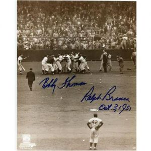 """Ralph Branca and Bobby Thomson Dual Autographed """"Shot"""" (Vertical) 8x10 Photo"""