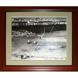 """Ralph Branca and Bobby Thomson Dual Autographed """"Shot"""" (Horizontal Dotted Line) Deluxe Framed 16x20 Photo w/ Inscription , Date"""
