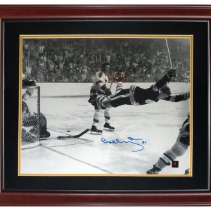 Bobby Orr Autographed Boston Bruins (Flying Goal) Deluxe Framed 16x20 Photo