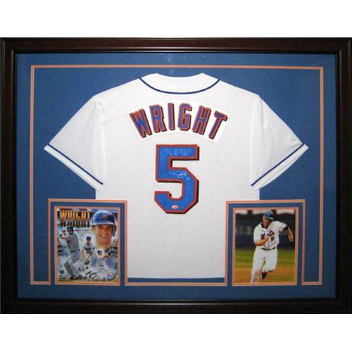 timeless design fdf5d 1faf2 David Wright Autographed New York Mets (White #5) Deluxe Framed Jersey