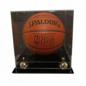 Deluxe Basketball Display Case with Gold Risers