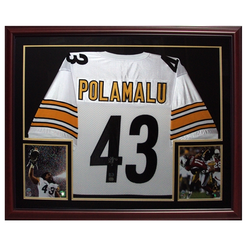 wholesale dealer 7a0b9 9b910 Troy Polamalu Autographed Pittsburgh Steelers (White #43) Deluxe Framed  Jersey - Polamalu Holo