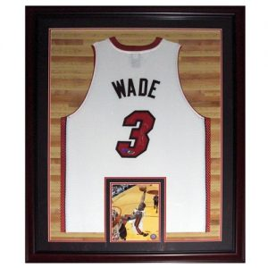 Dwyane Wade Autographed Miami Heat (White #3) Deluxe Framed Jersey - Court Background - Wade Holo
