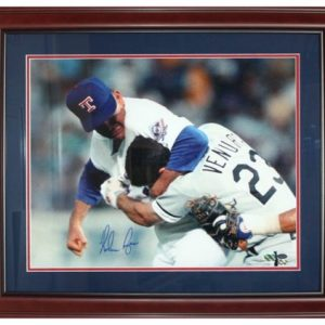 Nolan Ryan Autographed Texas Rangers (Punching Ventura) Deluxe Framed 16x20 Photo - Ryan Holo