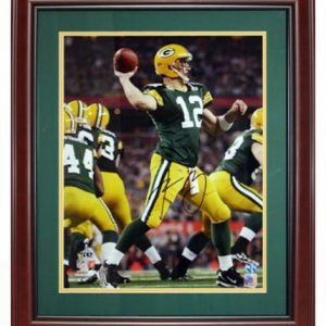 Aaron Rodgers Autographed Green Bay Packers (SB XLV Action) Deluxe Framed 16x20 Photo
