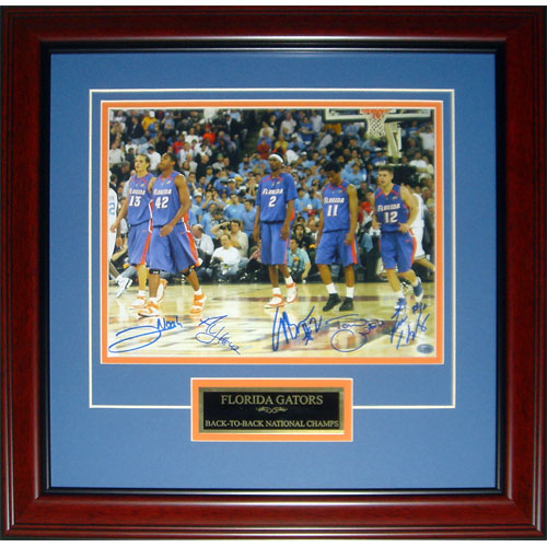 """Florida Gators """"Starting 5"""" (Brewer , Green , Horford , Humphrey , Noah) Autographed (2006 Final Four) Deluxe Framed 11x14 Photo"""