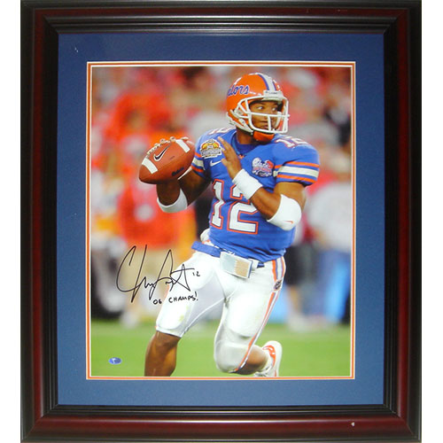 "Chris Leak Autographed Florida Gators (BCS Game) Deluxe Framed 16x20 Photo w/ ""06 Champs"""