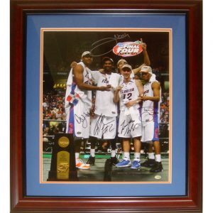 "Florida Gators ""Starting 5"" (Brewer , Green , Horford , Humphrey , Noah) Autographed (2007 Final Four with Trophy) Deluxe Framed 16x20 Photo"