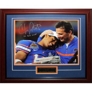 Urban Meyer and Chris Leak Autographed Florida Gators (BCS Celebration) Deluxe Framed 16x20 Photo w/ 2 Inscriptions