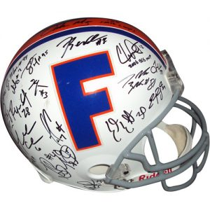 2006 Florida Gators National Championship Team and Urban Meyer Autographed Florida Gators (Throwback) Deluxe Replica Helmet - 44 Signatures