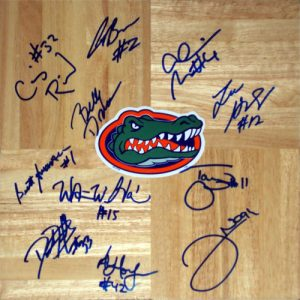 2005-06 Florida Gators Final Four Team and Billy Donovan Autographed 1'x1' Parquet Floor - 11 Signatures
