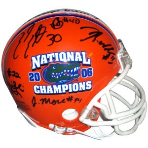 2006 Florida Gators Defense Autographed (BCS Champs) Mini Helmet LE100 - 12 Signatures