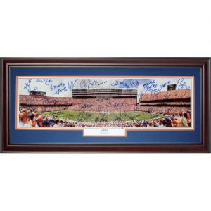 2006 Florida Gators Team and Urban Meyer Autographed Florida Gators (Gators) Deluxe Framed Panoramic Photo - 44 Signatures