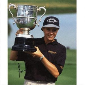 Annika Sorenstam Autographed (with Trophy) 8x10 Photo