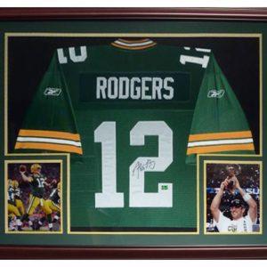Aaron Rodgers Autographed Green Bay Packers (Green #12) Deluxe Framed Jersey