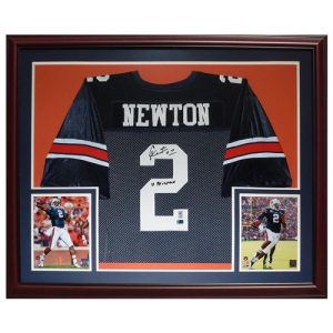 "Cameron Newton Autographed Auburn Tigers (Blue #2) Deluxe Framed Jersey w/ ""10 Heisman"" - Newton Holo"