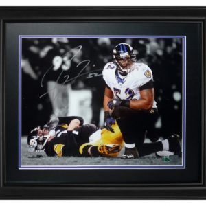 Ray Lewis Autographed Baltimore Ravens (Spotlight Over Roethlisberger) Deluxe Framed 16x20 Photo