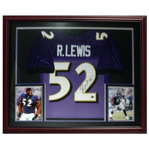 Ray Lewis Autographed Baltimore Ravens (Purple #52) Deluxe Framed Jersey