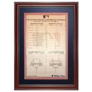 Philadelphia Phillies Game-Used (August 2007 - Hamels Pitching) Deluxe Framed Locker Room Lineup Card