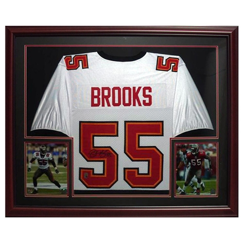 Derrick Brooks Autographed Tampa Bay Buccaneers (White #55) Deluxe Framed Jersey - Brooks Holo