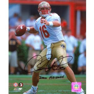 "Chris Weinke Autographed FSU Florida State Seminoles (White Jersey) 8x10 Photo w/ ""2000 Heisman"""