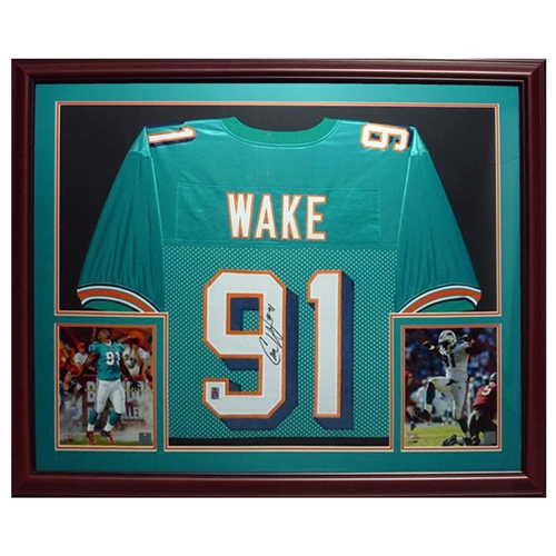 buy online 704b8 b5b72 Cameron Wake Autographed Miami Dolphins (Teal #91) Deluxe Framed Jersey -  Wake Holo