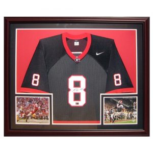 A.J. Green Autographed Georgia Bulldogs (Black #8) Deluxe Framed Jersey