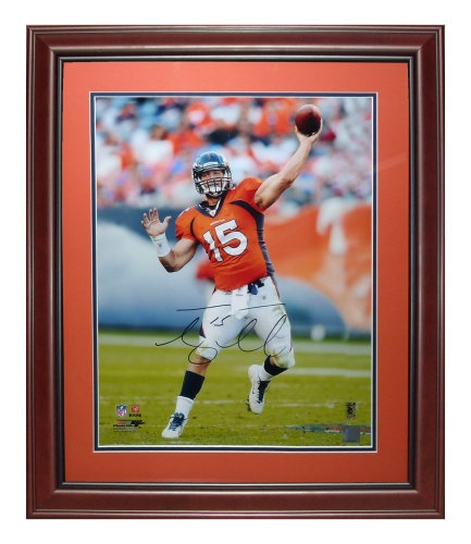 3fd9fb507 Tim Tebow Autographed Denver Broncos (Orange Jersey) Deluxe Framed 16×20  Photo – Tebow Holo