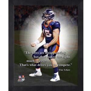 Tim Tebow Denver Broncos (Celebrating) Framed Pro Quote #3