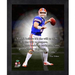 Tim Tebow Florida Gators (Throwing) Framed Pro Quote #1