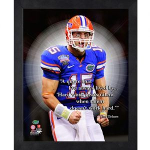 Tim Tebow Florida Gators (Celebrating) Framed Pro Quote #2