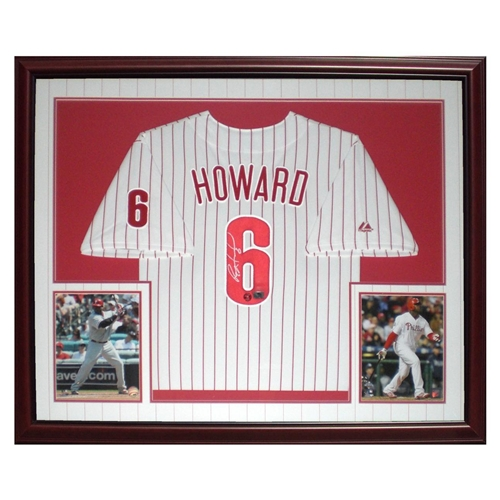 sports shoes 4c823 a3545 Ryan Howard Autographed Philadelphia Phillies (Pinstripe #6) Deluxe Framed  Jersey - Howard Holo