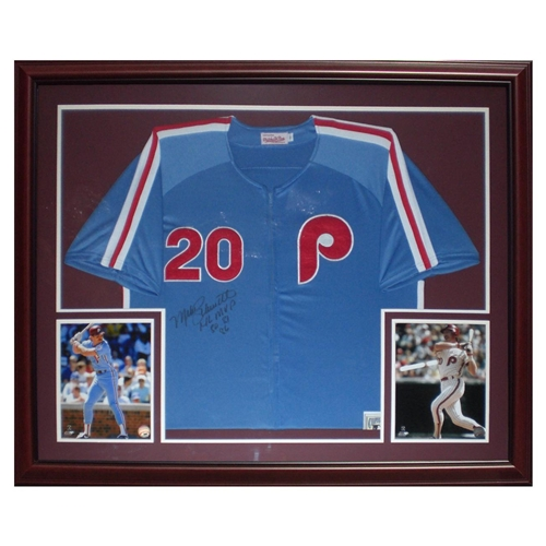 official photos f7ef9 3b5f9 Mike Schmidt Autographed Philadelphia Phillies (Blue #20) Deluxe Framed  Jersey w/