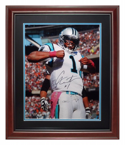 aad43d3f167 Cameron Newton Autographed Carolina Panthers (Superman) Deluxe Framed 16x20  Photo - Newton Holo