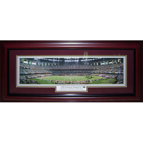 Bobby Bowden Autographed Florida State FSU Seminoles (1999 National Champs) Deluxe Framed Small Panoramic