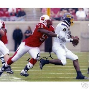 Elvis Dumervil Autographed Louisville Cardinals 8x10 Photo
