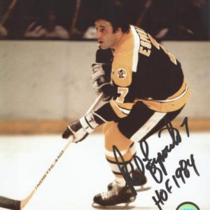 "Phil Esposito Autographed Boston Bruins (Black Jersey) 8x10 Photo w/ ""HOF 1984"""